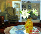 Interior Views - Vase with Flowers20x24,oil,5-2010