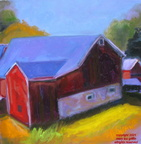 Red Barn in Shadows-12x12,oil,2009-Fall Series