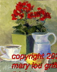 Teacup, pitcher,lemon and flowers - 8x10 oil on board-sold