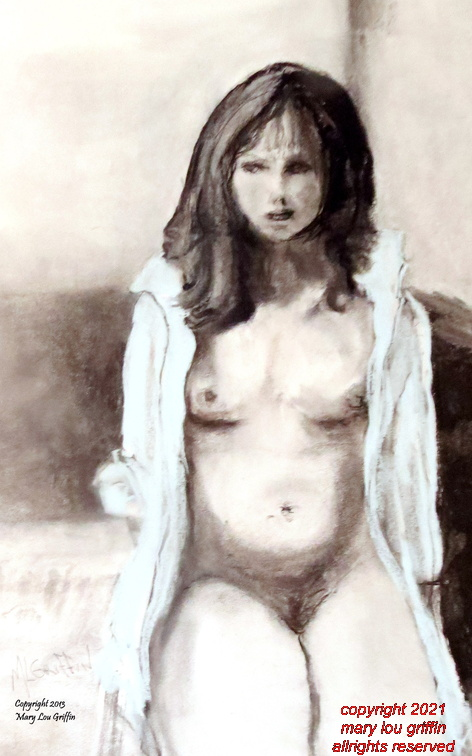 Figure-In White Shirt-charcoal and pastel,14x18-1-2013