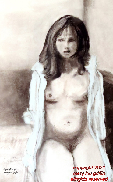 Figure-In White Shirt-charcoal and pastel,14x18-1-2013.JPG