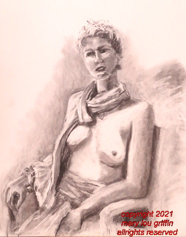 Lauri-girl with scarf -charcoal,18x24-6-2014