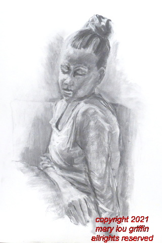 Seated Figure, soft charcoal, 16x20,July-2014