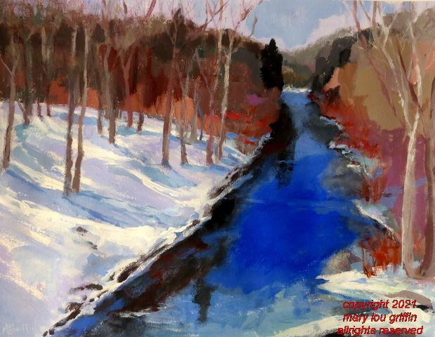 Meandering Stream, Acrylic on WCpaper-16x20-3-2015.JPG