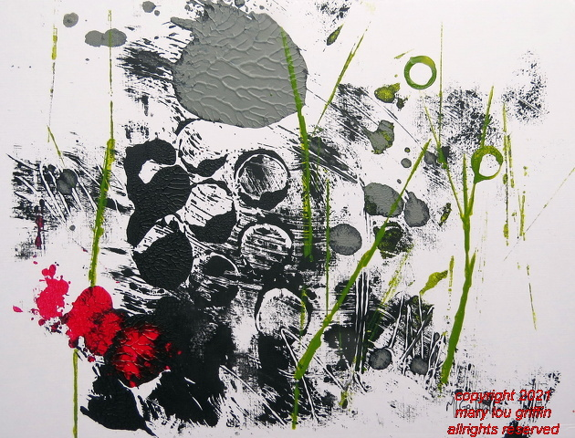 What Grows in my Garden-acrylic monoprint-9x12-7-2015