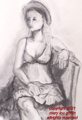 Mel-Figure in sundress and hat-charcoal,16x20,7-2016.JPG